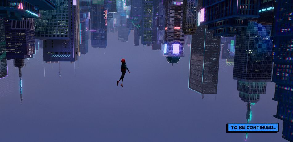 Miles Morales falls into an alternate New York City in Spider-Man: Into the Spider-Verse.