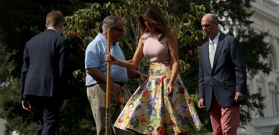 First Lady Melania Trump Plants A Sapling Of The Eisenhower Oak On South Lawn Of White House