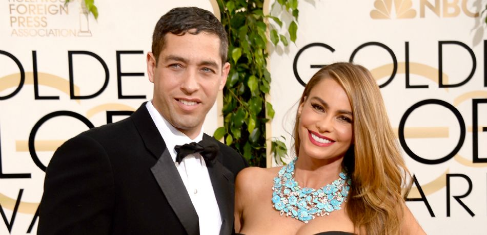 Nick Loeb (L) and actress Sofia Vergara attend the 71st Annual Golden Globe Awards held at The Beverly Hilton Hotel