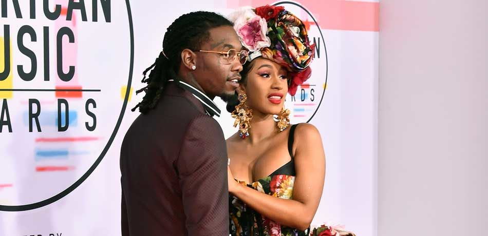 Offset (L) and Cardi B attend the 2018 American Music Awards at Microsoft Theater on October 9, 2018 in Los Angeles, California.