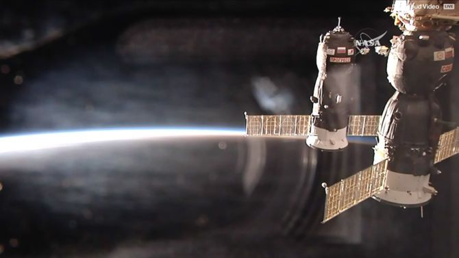 The Russian advance spacecraft was linked to the ISS.