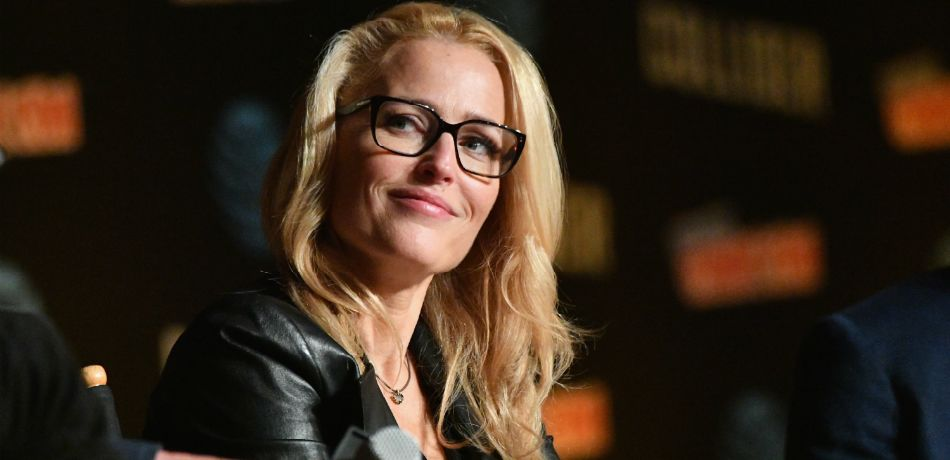 Gillian Anderson speaks onstage at The X-Files panel during 2017 New York Comic Con -Day 4