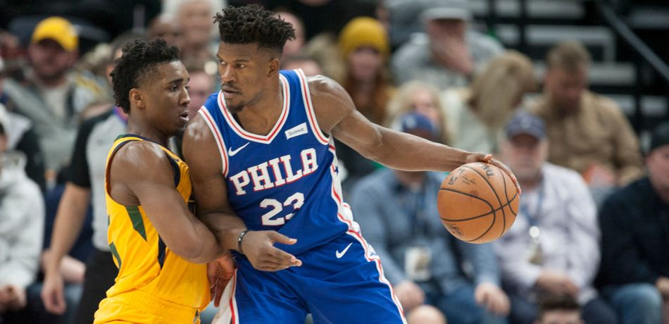 Jimmy Butler of the Sixers in their game against the Pacers