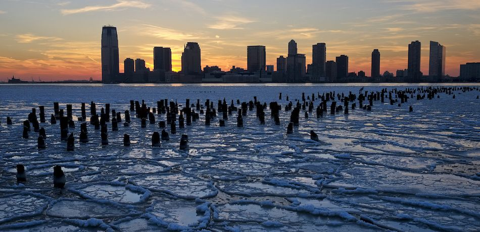 Frozen river in NYC