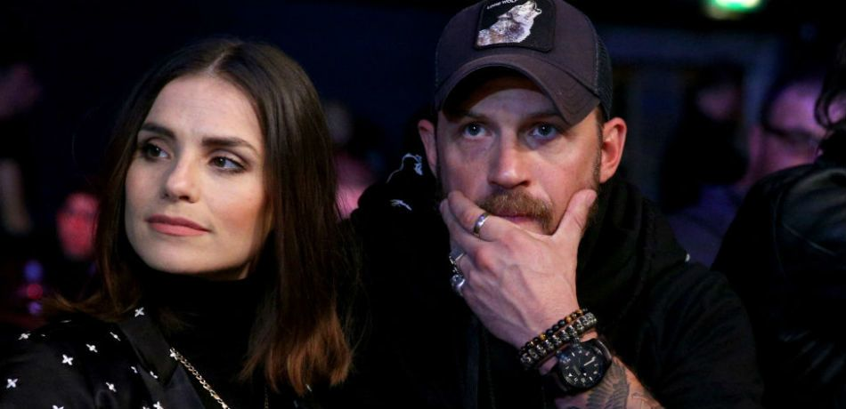 Charlotte Riley and Tom Hardy are seen ringside during BAMMA 31 at SSE Arena Wembley