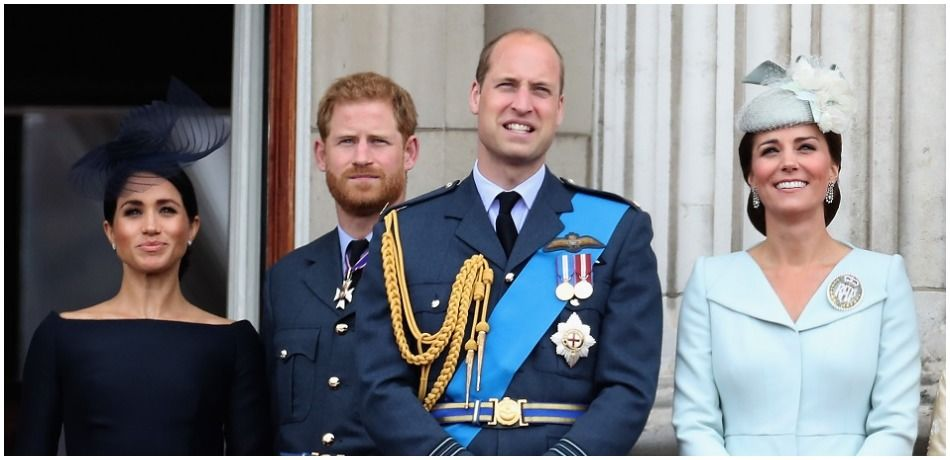 Meghan, Duchess of Sussex, Prince Harry, Duke of Sussex, Prince William, Duke of Cambridge and Catherine, Duchess of Cambridge watch the RAF flypast on the balcony of Buckingham Palace