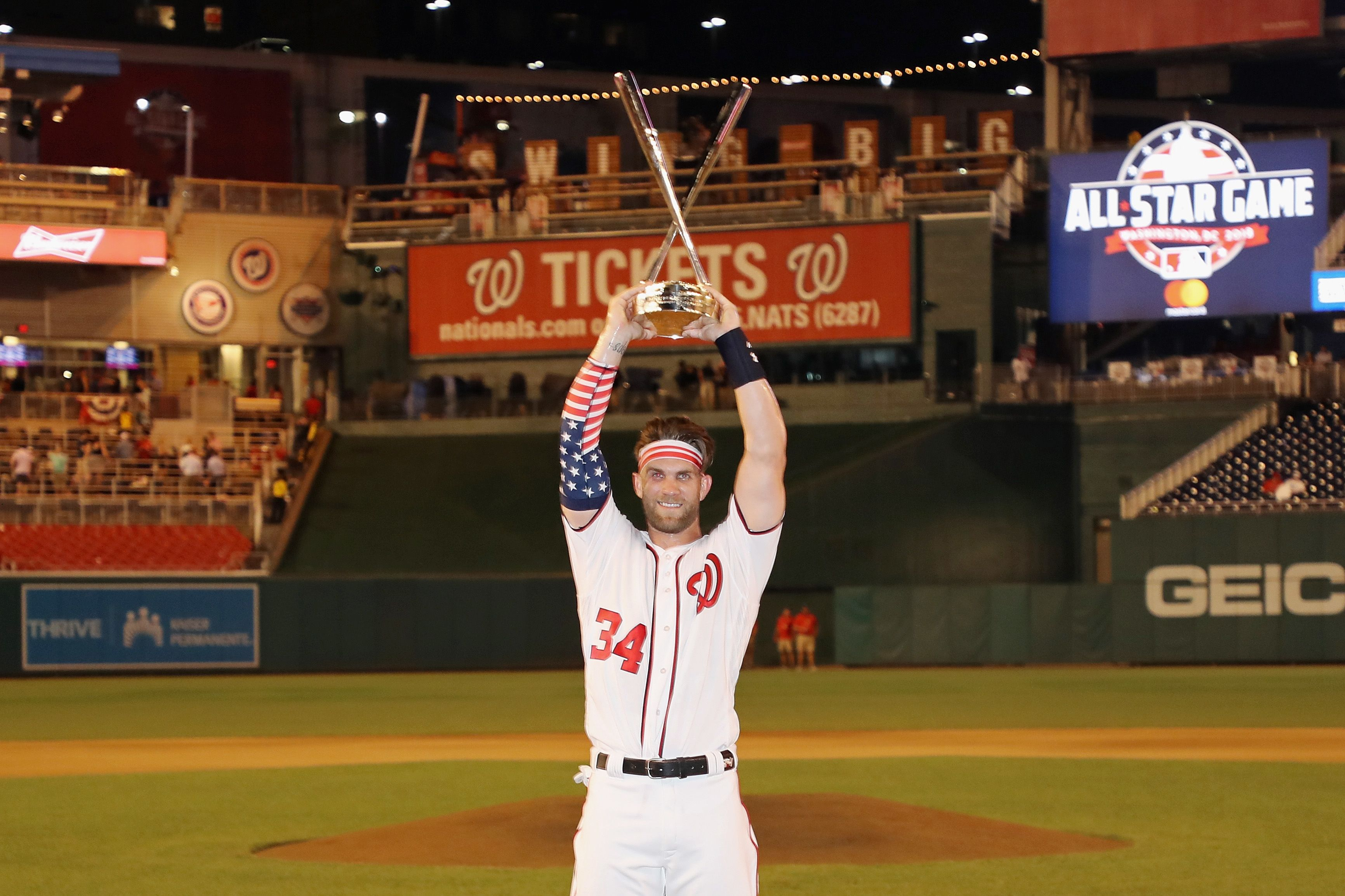 Bryce Harper of the Washington Nationals and National League celebrates with the trophy after winning the T-Mobile Home Run Derby