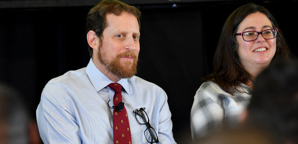 Scott M. Gimple and Jami OBrien speak onstage during the 'From Book To Screen' Panel at the AMC Summit at Public Hotel on June 20, 2018 in New York City