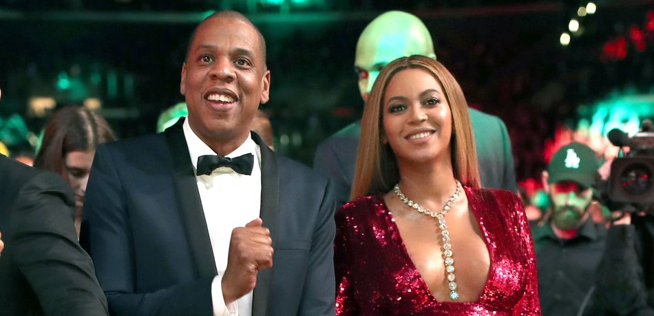 Jay Z and Beyoncé during The 59th GRAMMY Awards