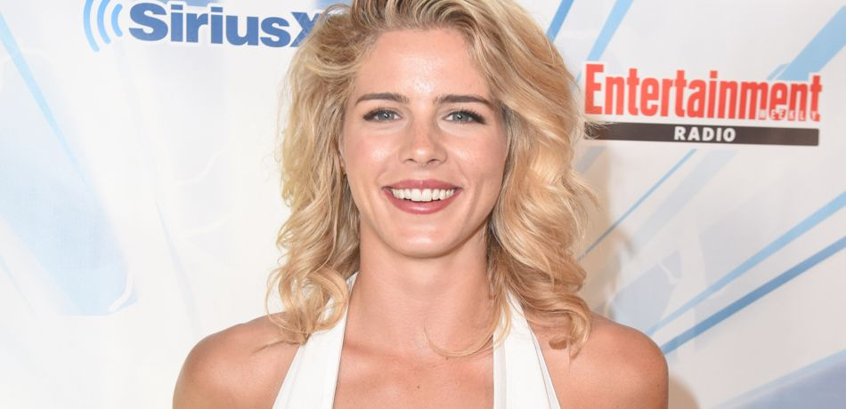 Emily Bett Rickards attending SiriusXM's Entertainment Weekly Radio Channel Broadcasts.