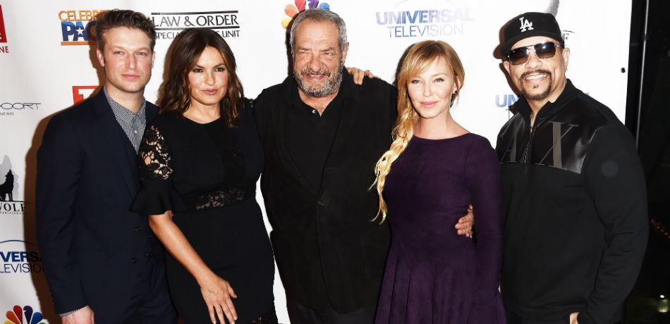 'Law & Order: SVU' stars Peter Scanavino, Mariska Hargitay, Kelli Giddish, and Ice-T with the show's creator, Dick Wolf, at an event on January 11, 2017, in New York City.