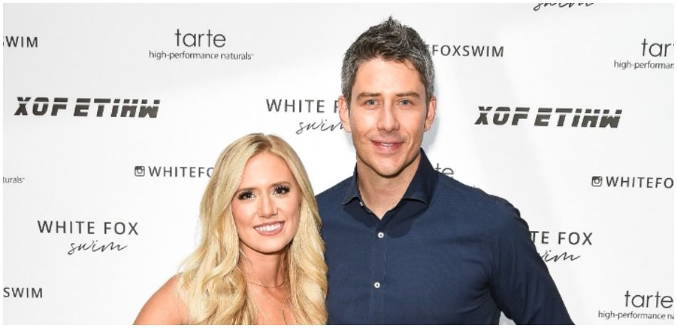 Lauren Burnham and Arie Luyendyk attend White Fox Boutique Swimwear Launch Of 100% Salty at Catch on July 26, 2018 in West Hollywood, California.