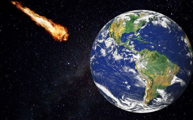 Near-Earth asteroid approaching our planet.