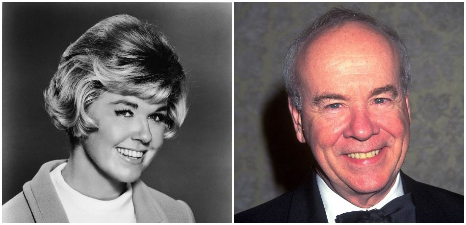 Doris Day and Tim Conway pose for the cameras.