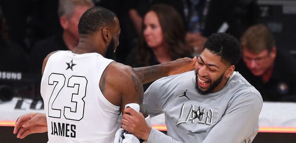 LeBron James #23 and Anthony Davis #23 of Team LeBron celebrate after winning the NBA All-Star Game 2018 at Staples Center on February 18, 2018 in Los Angeles, California.