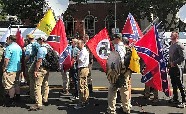 members of white nationalist groups attend the unite the right rally
