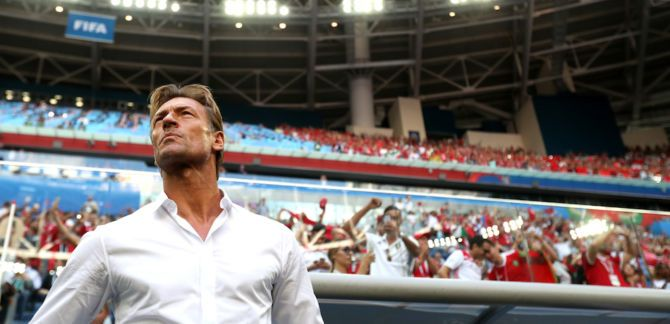 Herve Renard watches the game.