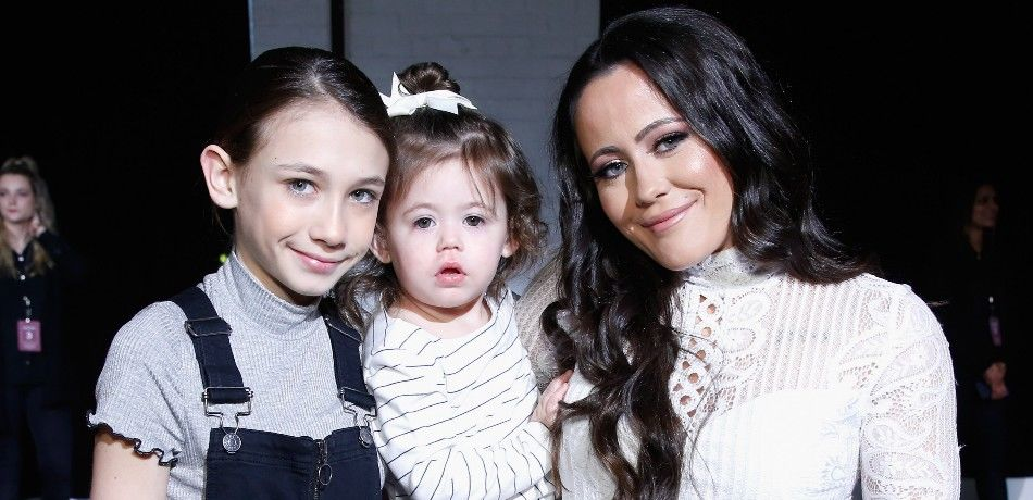 Jenelle Evans poses with her kids.