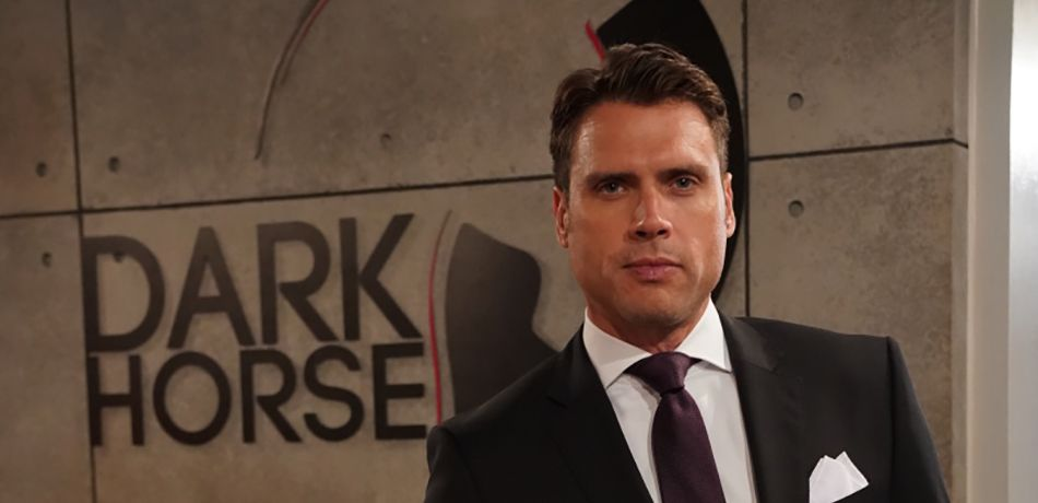 Nick Newman (Joshua Morrow) celebrates the unveiling of his Dark Horse offices.