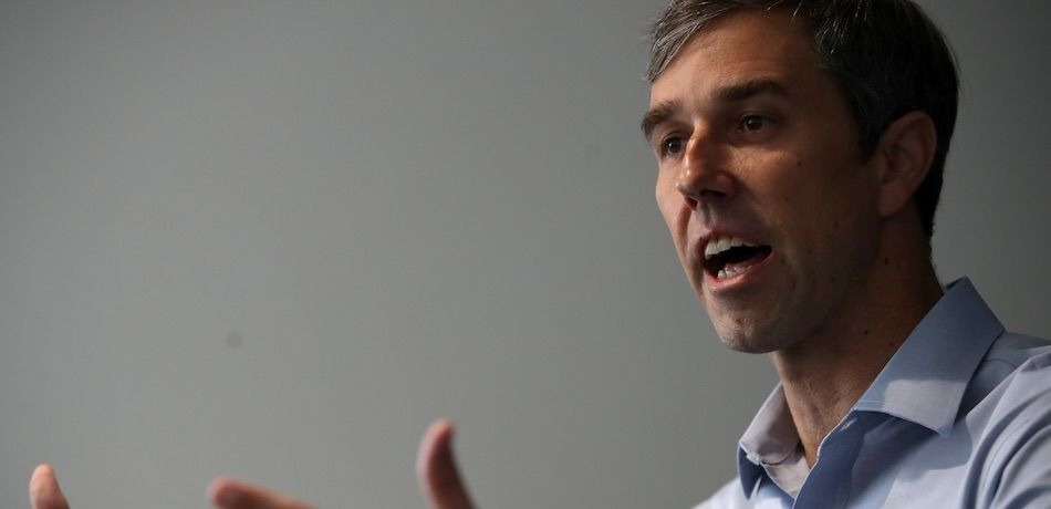 Democratic presidential candidate former U.S. Rep. Beto O'Rourke (D-TX) speaks to members of the press at Blunts and Moore marijuana dispensary on September 19, 2019 in Oakland, California.