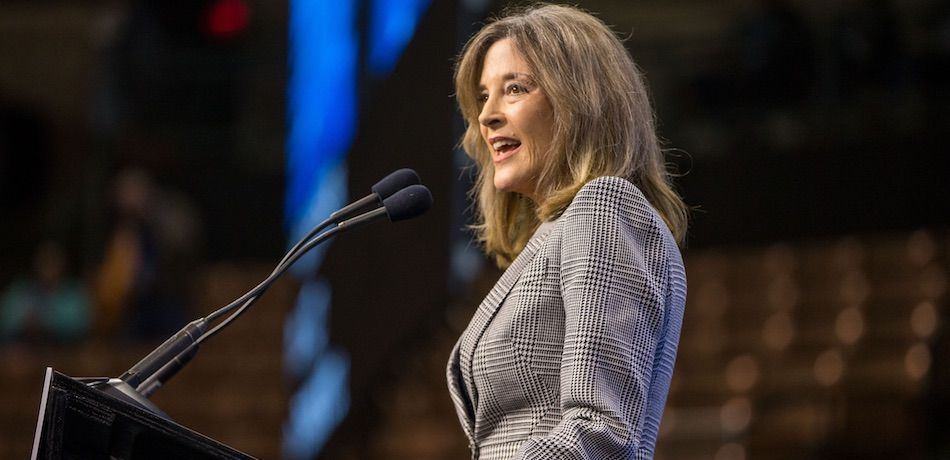 Democratic presidential candidate, author Marianne Williamson speaks during the New Hampshire Democratic Party Convention at the SNHU Arena on September 7, 2019 in Manchester, New Hampshire.