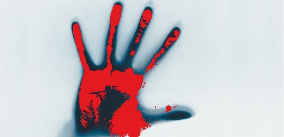 A bloody hand is outstretched.
