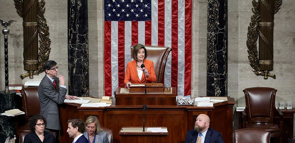 Speaker of the House Nancy Pelosi (D-CA) presides over a vote by the U.S. House of Representatives on a resolution formalizing the impeachment inquiry centered on U.S. President Donald Trump October 31, 2019 in Washington, DC.