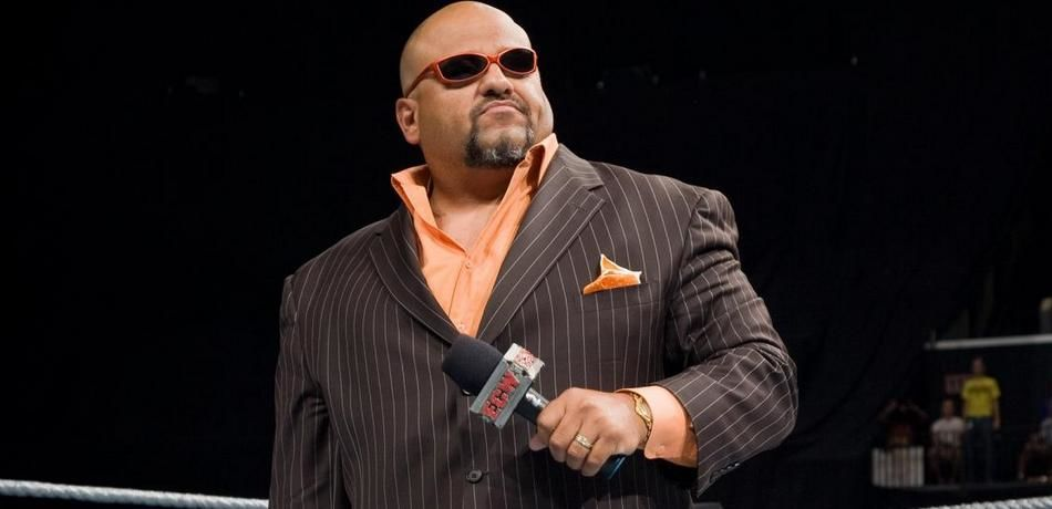 Tazz delivers a promo to the fans.