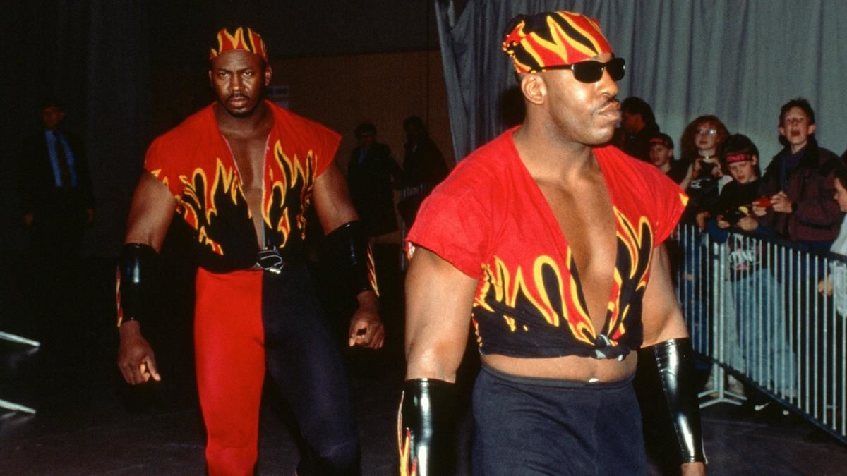 Harlem Heat head to the ring for a match.