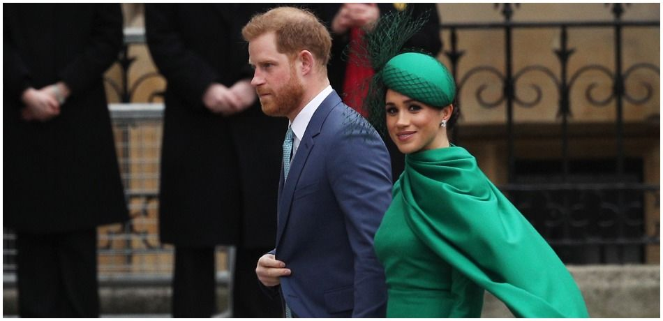 Prince Harry, Duke of Sussex (L) and Meghan, Duchess of Sussex arrive to attend the annual Commonwealth Day Service at Westminster Abbey on March 9, 2020 in London, England.