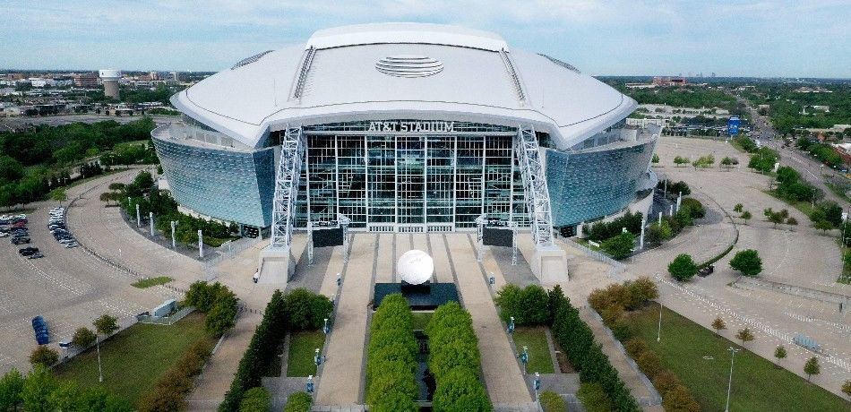 A picture of the exterior of AT&T Stadium.