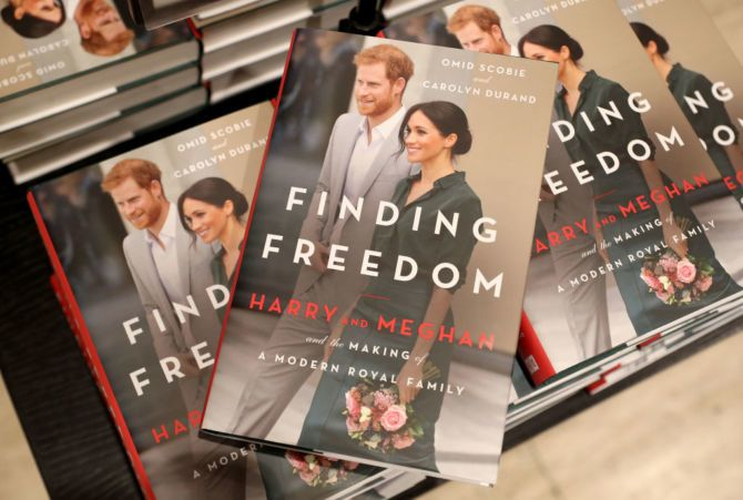 LONDON, ENGLAND - AUGUST 11: Copies of 'Finding Freedom' are stacked up in Waterstones Piccadilly on August 11, 2020 in London, England. Finding Freedom: Harry and Meghan and the Making of A Modern Family is a biography of Prince Harry and Meghan Markle, the Duke and Duchess of Sussex, written by Carolyn Durand and Omid Scobie and published by Harper Collins.