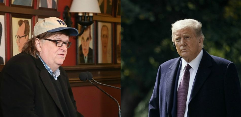 Filmmaker Michael Moore makes an announcement about his debut on Broadway; President Donald Trump walks to Marine One on the South Lawn of the White House.