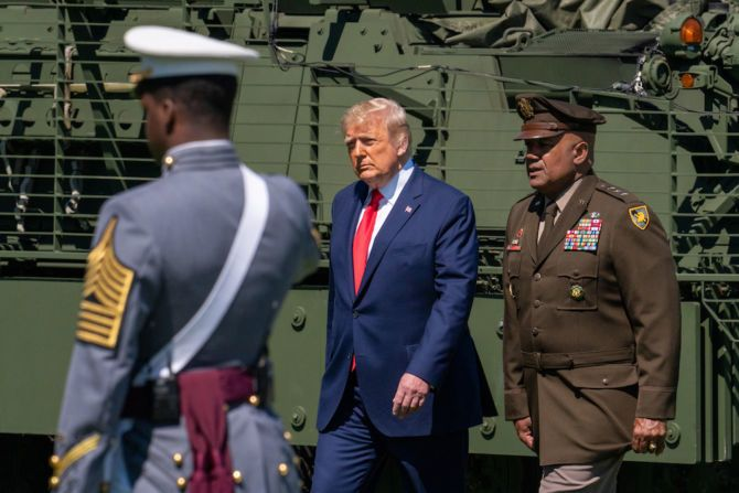 President Donald Trump Arrives at the commencement ceremony for army cadets on June 13, 2020 in West Point, New York.