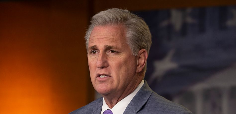 House Minority Leader Kevin McCarthy speaks at the weekly news conference on Capitol Hill.