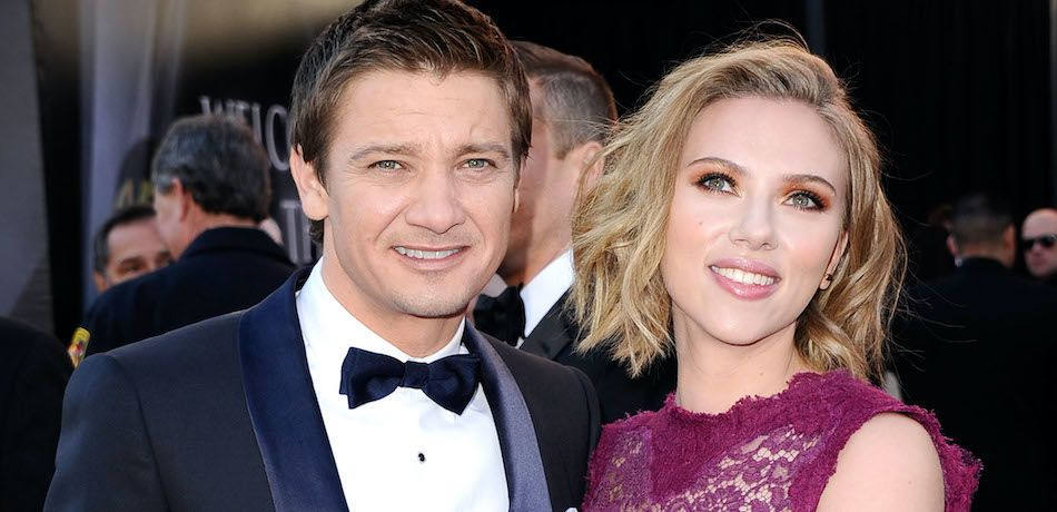 Jeremy Renner and Scarlett Johansson attend the 83rd Annual Academy Awards